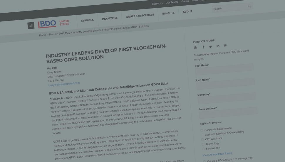 Industry Leaders Develop First Blockchain-based GDPR Solution