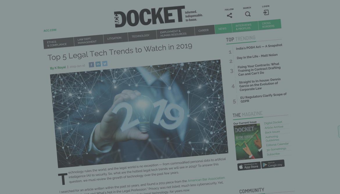 Top 5 Legal Tech Trends to Watch in 2019