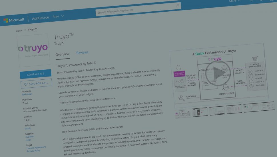 Truyo Announces Microsoft Co-sell Ready Solution and Appsource Availability