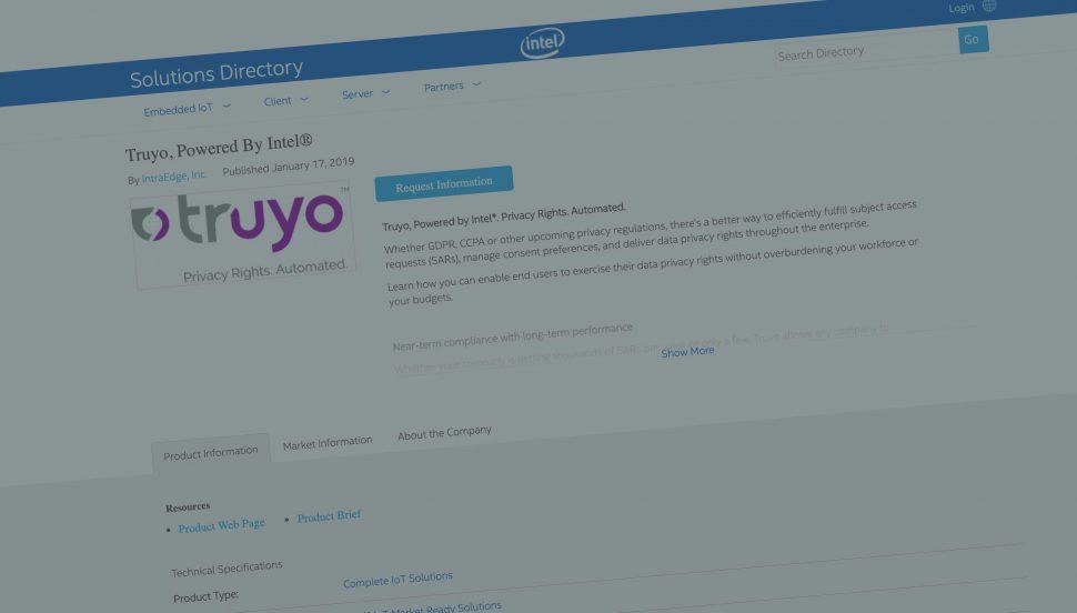 Truyo is an Intel Market Ready Solution + Intel IoT Solutions Alliance