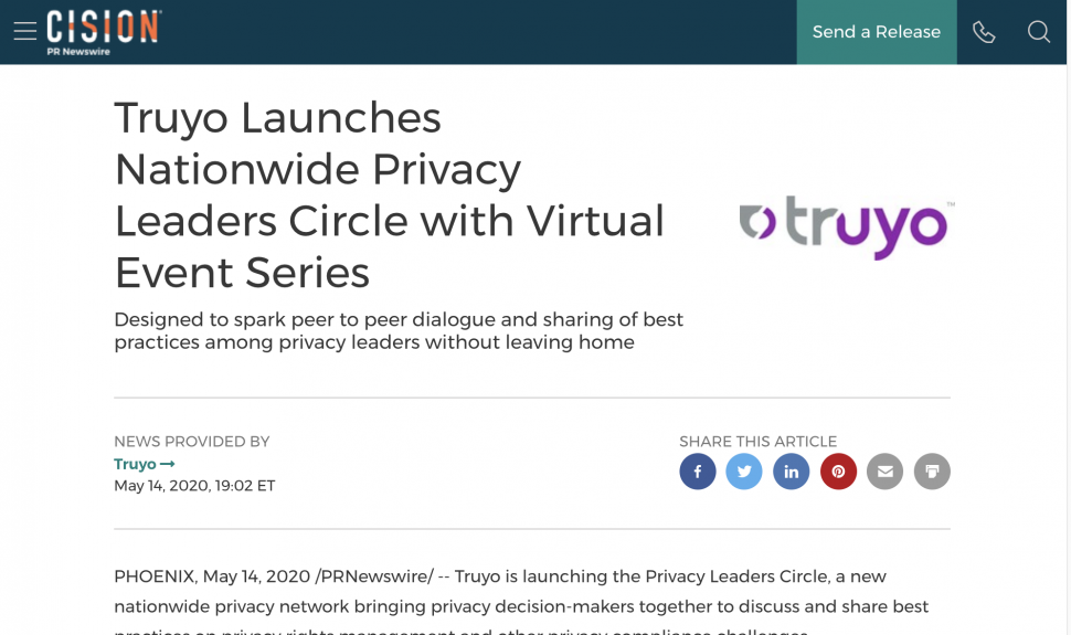 Truyo Launches Nationwide Privacy Leaders Circle